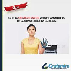 Sabias que cada cinco de cada cien cartuchos consumibles que los colombianos compran son falsificados. Tips para identificar un cartucho de impresora falso: http://gratamira.com/v2/index.php/noticias/119-tips-para-identificar-un-cartucho-de-impresora-falso