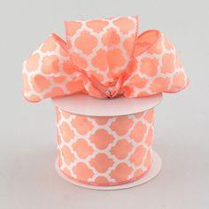 "2.5"" Satin Quatrefoil Lattice Ribbon: Coral (10 Yards) $7.25"