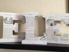 Babies initials made of blocks Mod Podged with children's book pages. Storybook baby shower decor.