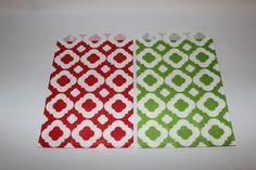 Elegant patterned Green and Red Christmas HOliday Moroccan Mod Fretwork decorative paper goodie favor sack bag elegant bridal baby shower p
