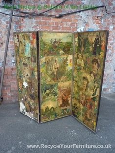 ANTIQUE VICTORIAN DECOUPAGE ROOM DIVIDER / SCREEN sold on British Ebay for $300 pounds. Scrap on both sides but damage in several places. Amazing scrap though. I have also pinned one of the close up images