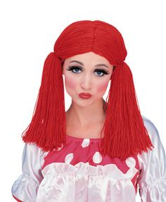 Rag Doll Yarn Wig - This is a red yarn rag doll wig pulled into two pig tails. It has netting inside with an elastic edge. Great for finishing off your Raggedy Ann costume. Costume Wigs, Girl Costumes, Costume Ideas, Red Hair Halloween Costumes, Alien Costumes, Costume Craze, Costume Makeup, Red Hair Rag Doll, Raggedy Ann Costume