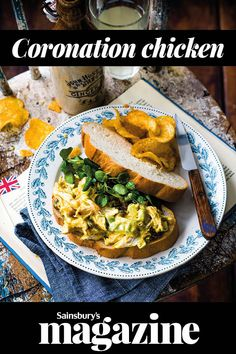 An all-time British classic, our coronation chicken recipe is delicious sandwiched between 2 doorstops of bread or piled onto a jacket potato. Created in 1953 to celebrate Queen Elizabeth II's coronation, it makes a right royal lunch. Coronation Chicken Sandwich, Coronation Chicken Recipe, Chicken Sandwich Recipes, Easy Chicken Recipes, Sandwich Buffet, Uk Recipes, British Recipes, Recipies, Kitchens