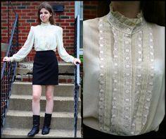 Vintage ruffled secretary blouse