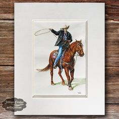 Daily Watercolors: Rodeo Cowgirl - original watercolor painting.