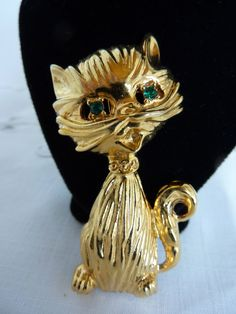 Cat Brooch Green Rhinestone Eyes by BonniesVintageAttic on Etsy, $16.50