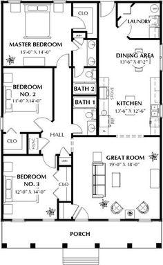 One Bedroom House Plans, Floor Plan 4 Bedroom, Small House Floor Plans, House Plans One Story, Ranch House Plans, Dream House Plans, Story House, Small House Plans Under 1000 Sq Ft, 40x60 House Plans