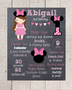 Minnie Mouse Themed Birthday Party: Adorable Personalized 1st Birthday Chalkboard Poster Printable