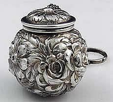 Stieff repousse sterling silver tea ball antique sterling silver