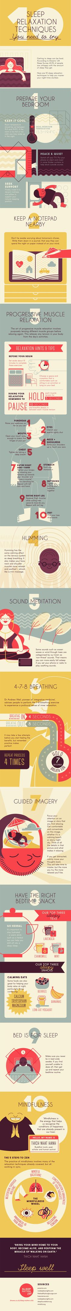 10 Sleep Relaxation Techniques #Infographic #Health #Sleep