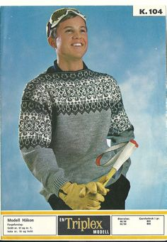 Håkon k 104 Granny Style, Knitting Patterns, Crochet Patterns, Norwegian Knitting, Fair Isle Knitting, Vintage Knitting, Norway, Knitwear, Retro Vintage