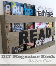 DIY Magazine Rack: Functional decor! Easy to make and perfect to store magazines in any room. Finish it with one of the many wood stain colors available by Rust-Oleum. http://www.rustoleum.com/product-catalog/consumer-brands/wood-care/ultimate-wood-stain/
