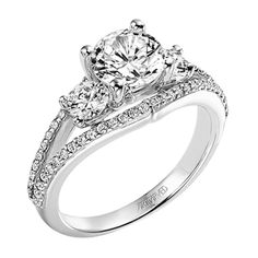 ArtCarved - Sophia: Diamond three stone engagement ring with round center stones and round accent stones.