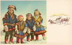 "Saami (or Sami or Sámi) children in traditional ""Lapp"" clothing circa late 1930s. A distinct people of Nordic Europe whose language is closely related to Finnish and have a culture of reindeer herding and fishing. A minority peoples in the Nordic nations."