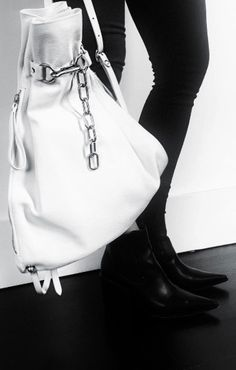 Alexander Wang | Attica Gym Sack in White Leather | Spring 2016