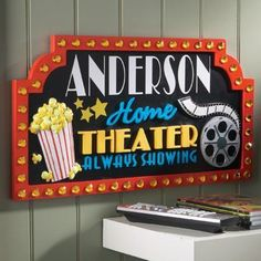 NEW Home Theater Movie Decorative Wall Plaque Popcorn Matinee