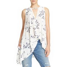 Women's Free People 'Tree Swing' Sleeveless Top ($88) via Polyvore featuring tops, ivory, white sleeveless top, free people tank, v neck tank, white singlet and v-neck tank top