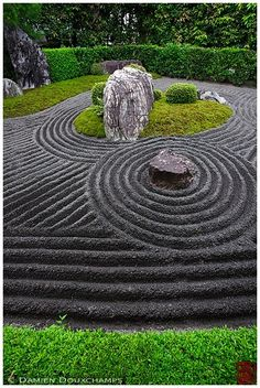 asian garden A Zen garden is much more than designing with pile of rocks, sand, and bamboo plants. A Zen design garden is landscaping to re-create the scenes of nature. Zen gardens have b Zen Rock Garden, Zen Garden Design, Zen Design, Garden Stones, Landscape Design, Japan Landscape, Garden Park, Design Ideas, Rock Design
