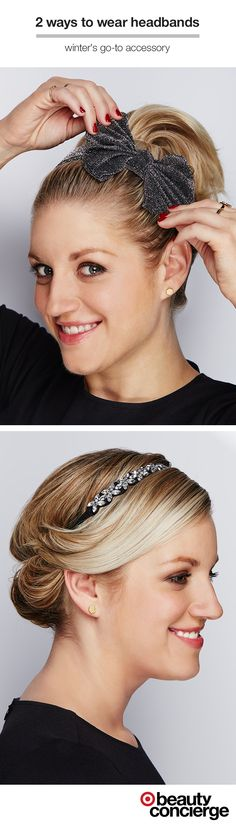 Whatever look you're going for, there's a headband to match. Target Beauty Concierge, Sally from Minneapolis, shows two different ways to wear a headband for the holidays. PREPPY: Pull hair back into a high ponytail. accent with a statement headband, like a glittery bow. GLAM: Start with an embellished headband. Place the elastic band on head, then roll hair up and around, tucking it into the band to create a chic chignon.