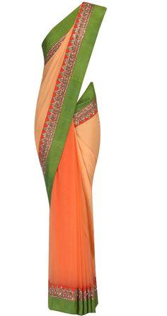 Sahara sand half net half georgette sari by SABYASACHI. Shop at https://www.perniaspopupshop.com/whats-new/sabyasachi-29