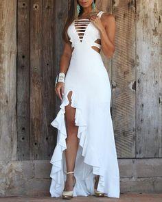 Ladder Cut Out Irregular Ruffles Dress - Chic Dresses Dresses Elegant, Sexy Dresses, Formal Dresses, Wedding Dresses, Party Dresses, Beautiful Dresses, Casual Dresses, Maxi Dress With Slit, White Dress