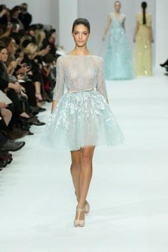 gorgeous short almost sheer, blue Elie Saab dress