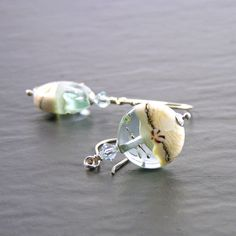 #Pale #Green #Earrings in #Sterling #Silver with #SRA #Lampwork #glass, #handmade by #ErikaPrice on #etsy