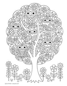Notebook Doodles Super Cute: Coloring & Activity Book: Jess images ideas from NEO Coloring Pages Owl Coloring Pages, Tree Coloring Page, Printable Coloring Pages, Free Coloring, Mandala Coloring, Coloring Sheets, Coloring Books, Owl Crafts, Color Activities