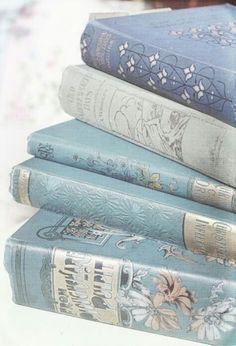 ༺✺❥Charmeleon Collections❥✺༻ Soft Blue ✺ Pastel Blue ✺ Pale Blue ✺ Baby Blue ✺ Light Blue ✺ Vintage Book Stacks