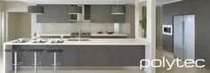 Kitchen Benchtops - Laminate Snow Frabini Matt & Cupboards - Grey Oak Natura Matt