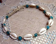 Hemp Necklace with Cowrie Shells and Glass by SunnyBeachJewelry