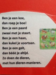Versje over boerderijdieren Farm Activities, Toddler Activities, Learn Dutch, Farm Crafts, Down On The Farm, Too Cool For School, Preschool, Learning, Kids