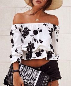 Awaytr Women Cotton Floral Blouse Long Sleeve 2016 New Casual Black White Slash Neck Ruffles Blusas Chemise Femme Woman Shirts Style Outfits, Summer Outfits, Cute Outfits, Floral Outfits, Look Fashion, Womens Fashion, Fashion Trends, Gypsy Fashion, Fashion Black