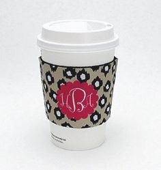 "$15.00 Personalized coffee sleeve - other patterns and personalization available. Fits most disposable coffee cups  Measures approximately 2.63"" x 4.88"". #coffee #koozie order at shop@jchristophertoys.com"