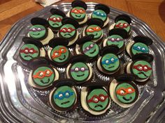 TMNT cup cakes for a ninja turtle party!