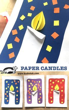 PAPER CANDLES (krokotak) Watch video: Printable templates: see more: day activities for kids families Art Ideas For Teens, Art Projects For Adults, Toddler Art Projects, Art For Kids, Big Kids, Christmas Activities For Kids, Winter Crafts For Kids, Children Activities, Diy Crafts To Do
