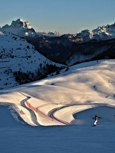 Late afternoon skiing in Alta Badia, Dolomites