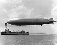 The USS Los Angeles, a US Navy zeppelin built by the Zeppelin Company
