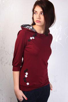 Jersey Hoodie - bordeaux rot - Blumen
