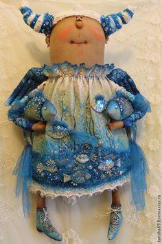 Купить Знаки Зодиака.Рыбы. - голубой, текстильная кукла, ароматизированная кукла, интерьерная кукла, ангел