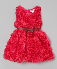 Love this Hot Pink Rosette Dress - Toddler & Girls by Paulinie on #zulily! #zulilyfinds