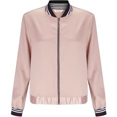 Miss Selfridge Petites Pink Bomber Jacket (£35) ❤ liked on Polyvore featuring outerwear, jackets, tops, clearance, petite, pink, petite jackets, pink jacket, flight jacket and miss selfridge