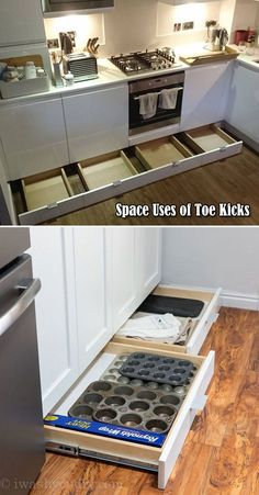 Do not let the space of toe kicks go wasted, it can be used to build drawers for baking supplies storage.