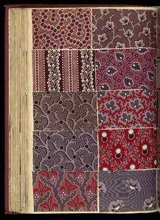 SAMPLE BOOK (FRANCE), 1850 Its medium is paper, printed cotton textile samples Oversized red cloth bound book with 2,239 French textile samples. Very good condition and quality. Predominantly dark colors and earth tones.