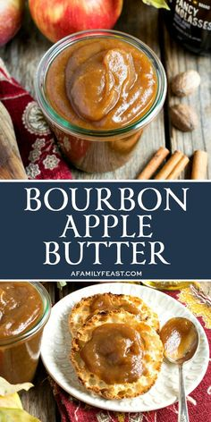 This easy Bourbon Apple Butter has a delicious kick of flavor! You're going to want to spoon this over everything! This easy Bourbon Apple Butter has a delicious kick of flavor! You're going to want to spoon this over everything! Jelly Recipes, Jam Recipes, Canning Recipes, Apple Recipes, Fruit Recipes, Vegan Recipes, Flavored Butter, Homemade Butter, Butter Recipe