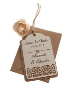 Brown kraft card save the date luggage tags FLORAL CUT x 25, available fro razzle dazzle rose
