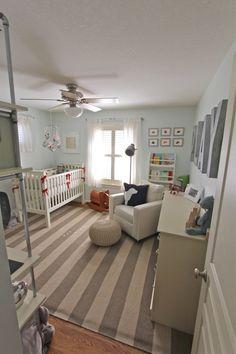 boy nursery, large letters, stripe rug, pops of red... so cute