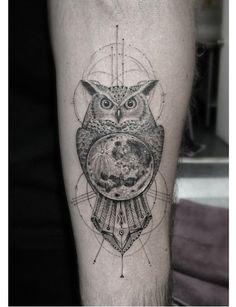 moon inked tattoo line ink owl 1337tattoos •