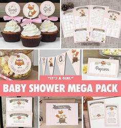 Hey, I found this really awesome Etsy listing at https://www.etsy.com/listing/206520625/girl-woodland-baby-shower-mega-pack