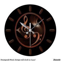 Shop Steampunk Music design wall clock created by bigspl. Music Gifts, Wall Design, Steampunk, Clock, Display, Popular, Artwork, Prints, Makeup